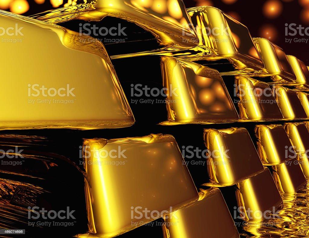 Diugital Illustration of Gold Bullions stock photo