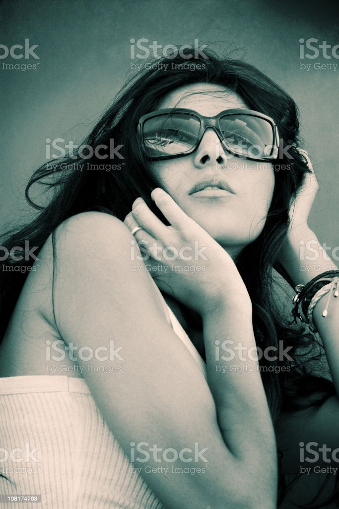 Diva with sunglasses royalty-free stock photo