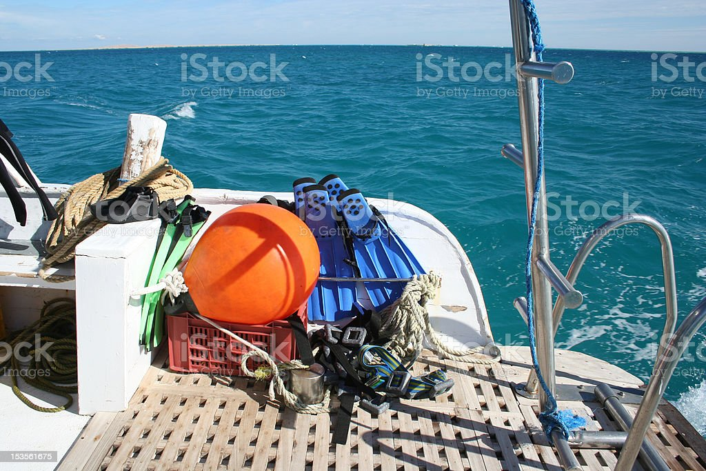 Dive equipment on the back of a dive boat (landscape) : Istockphoto