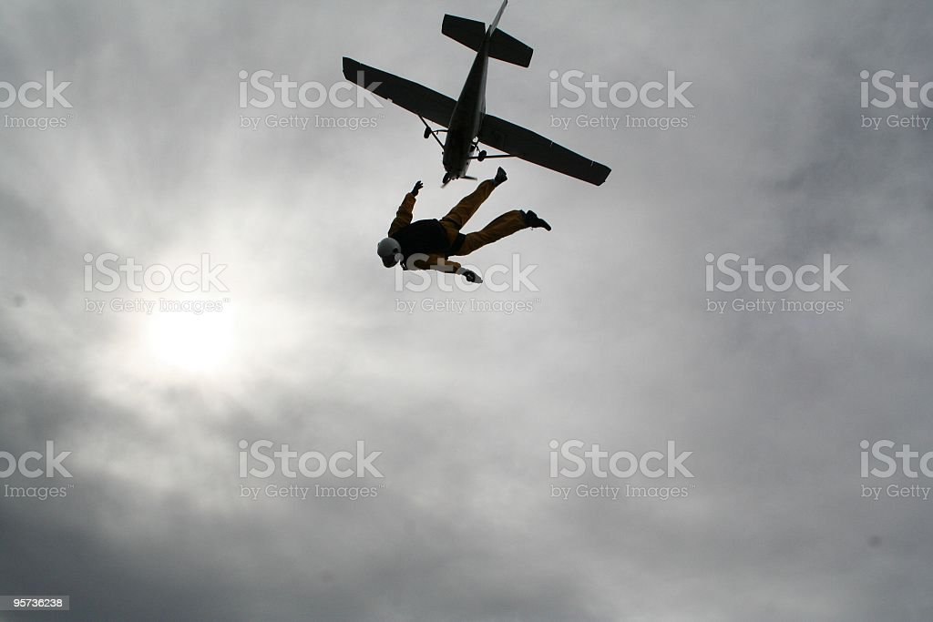 Dive from an airplane - skydive royalty-free stock photo