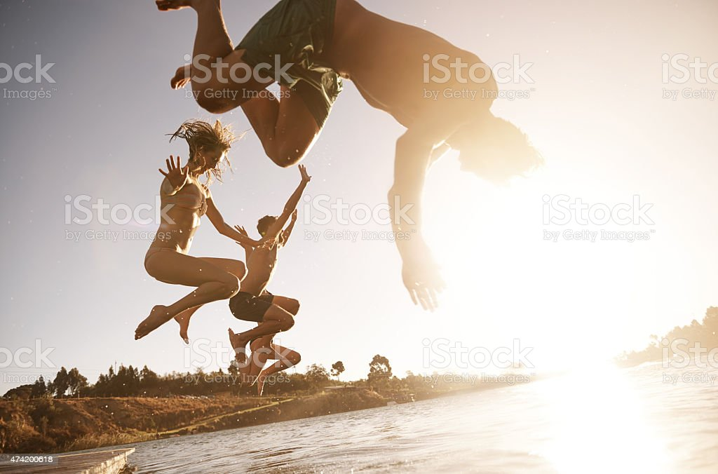 Dive into happiness stock photo