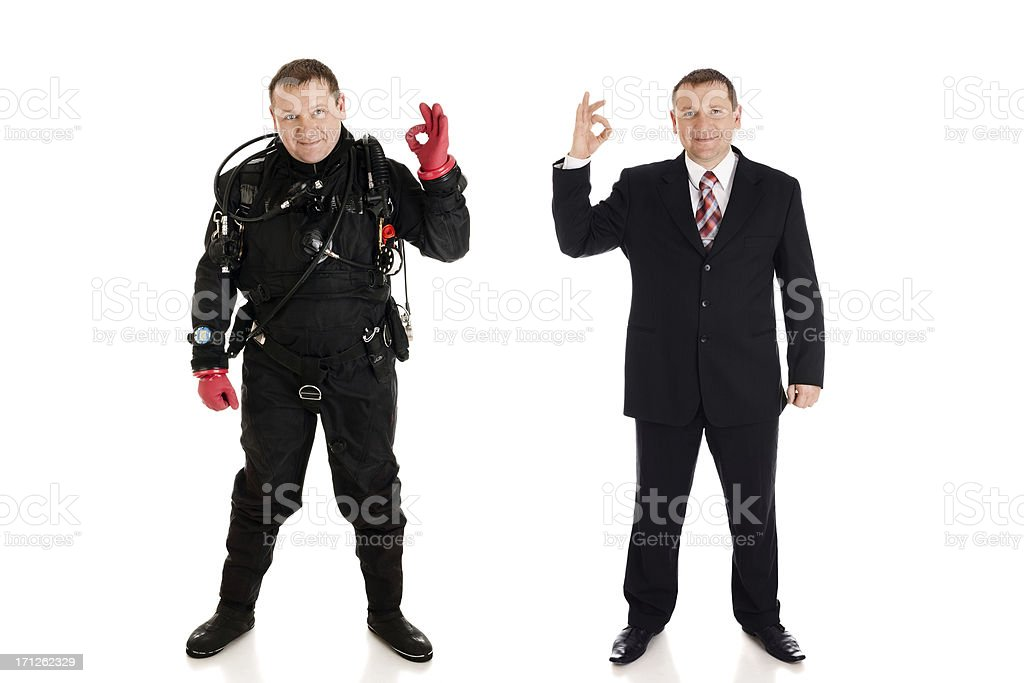 Diver and  businessman stock photo