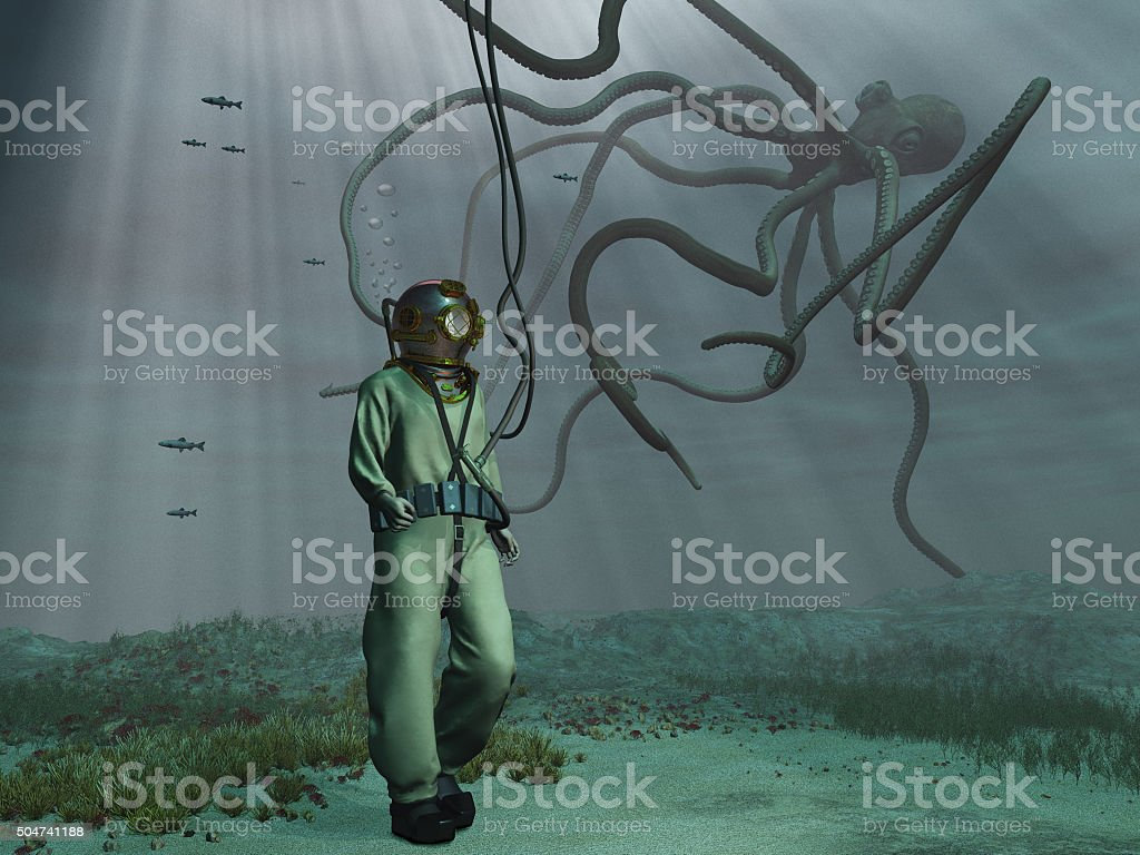 Diver and giant octopus stock photo