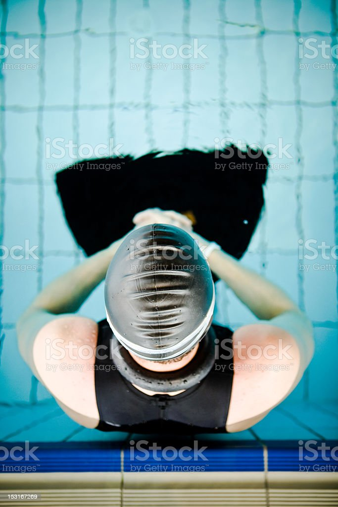 Diver focused before the start in competition royalty-free stock photo
