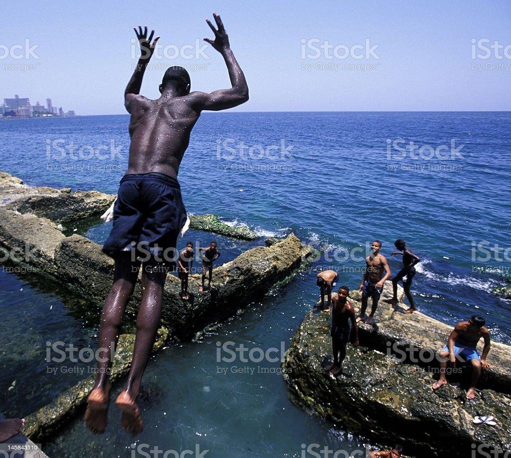 diver in Havana Malecon stock photo