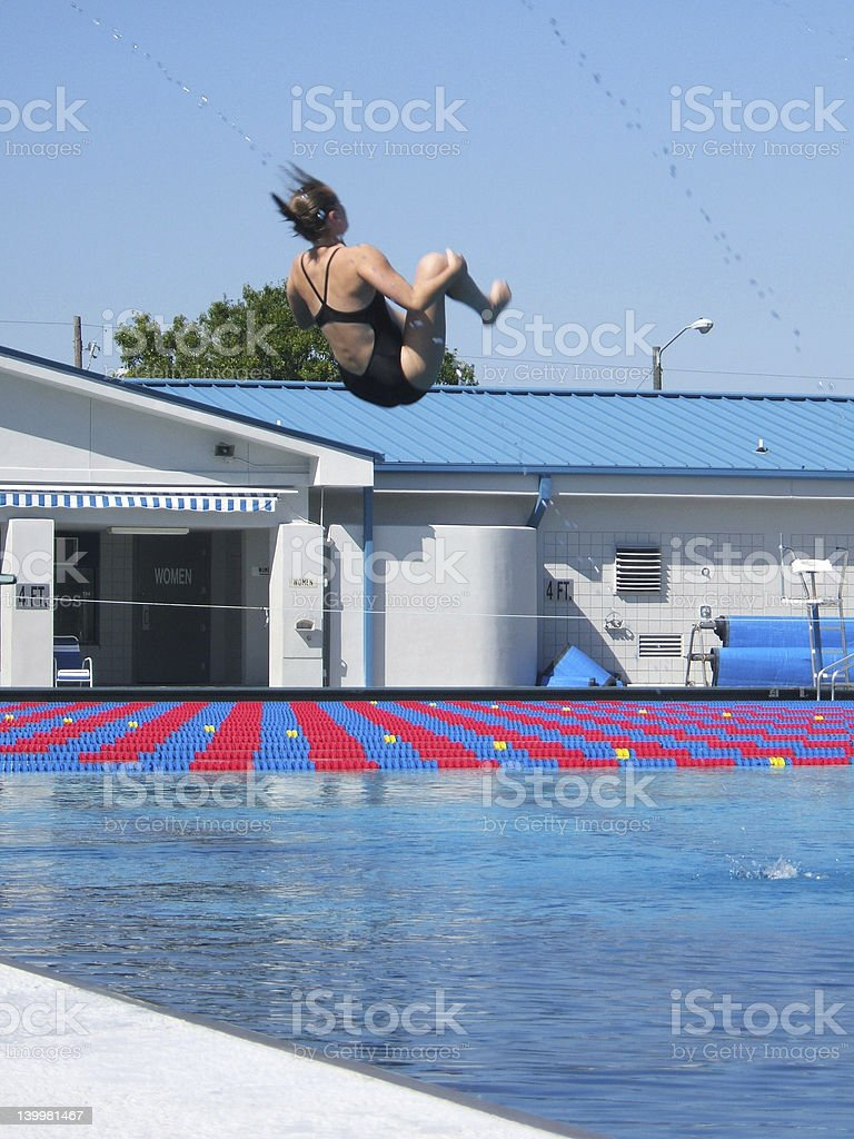 Diver in Tuck Position stock photo