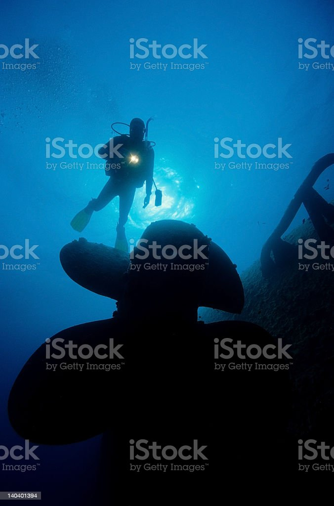 Diver on a wreck stock photo