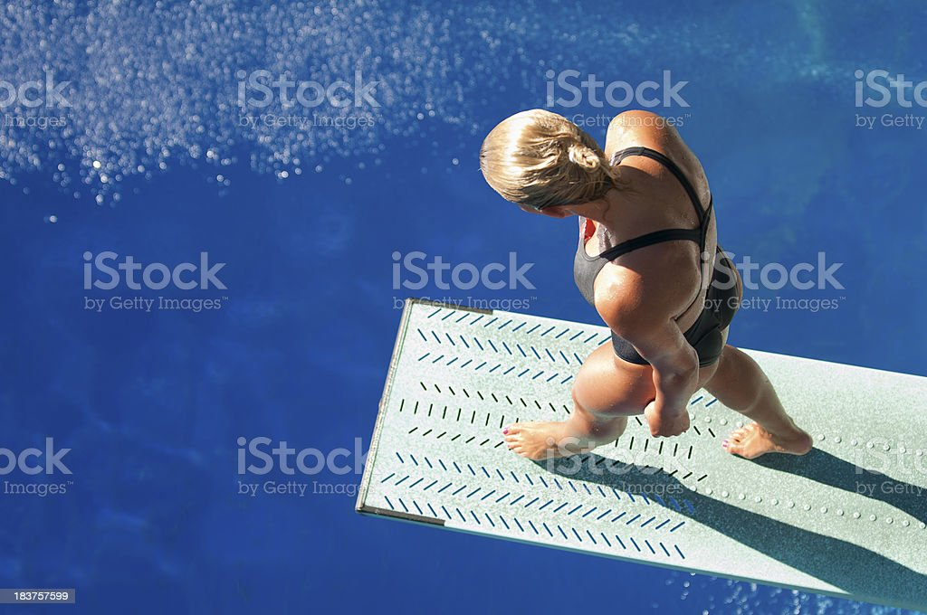 Diver on the springboard stock photo