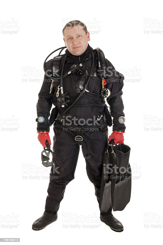 Diver ready to dive royalty-free stock photo