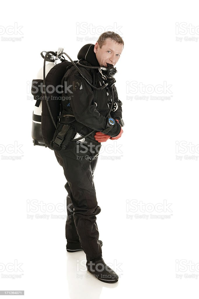 Diver ready to dive stock photo
