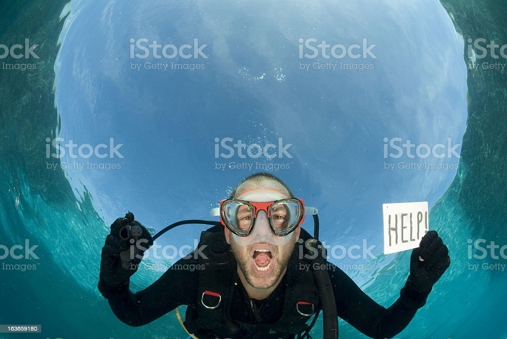 diver screams for help royalty-free stock photo