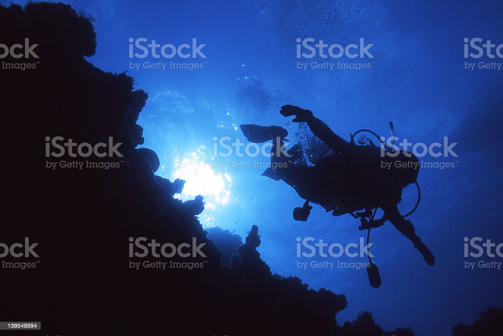 Diver Silhouette #12 royalty-free stock photo