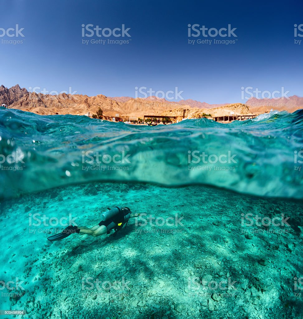 Diver underwater stock photo