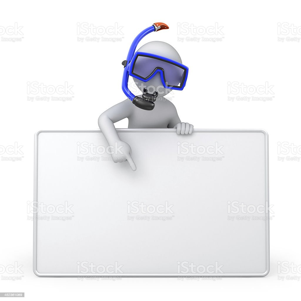 Diver with a blank board stock photo