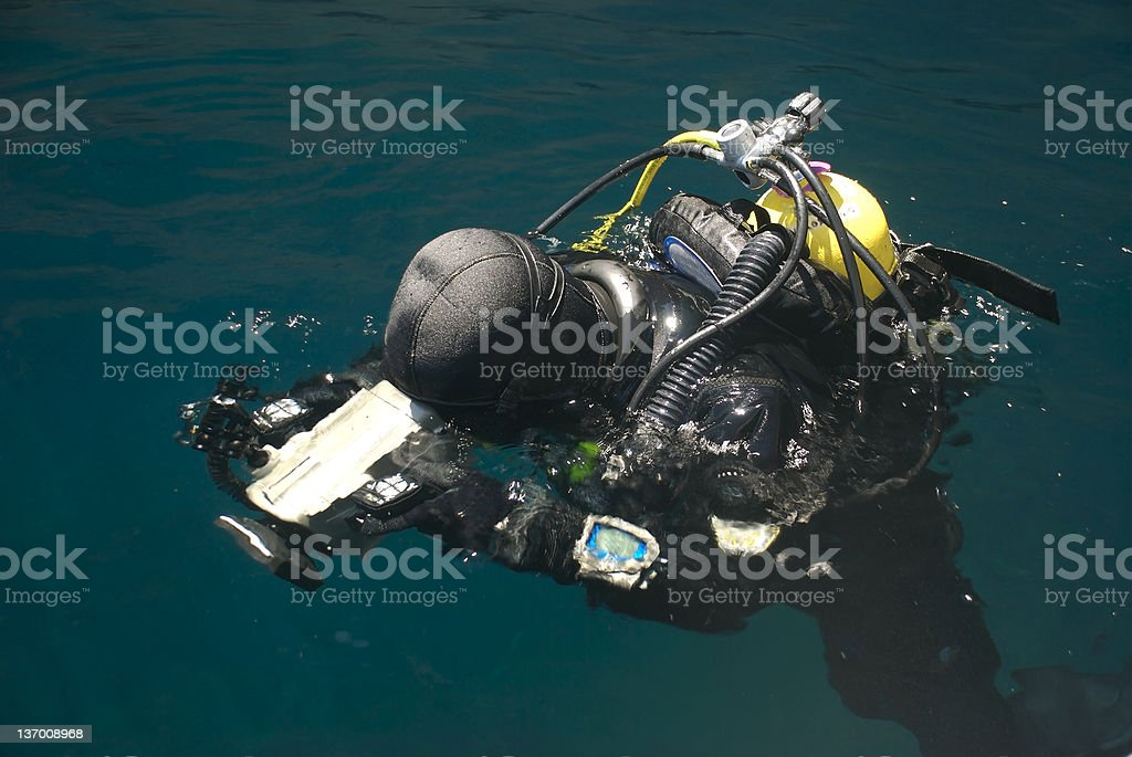 Diver with camera stock photo