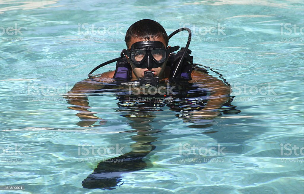 diver with mask and regulator stock photo