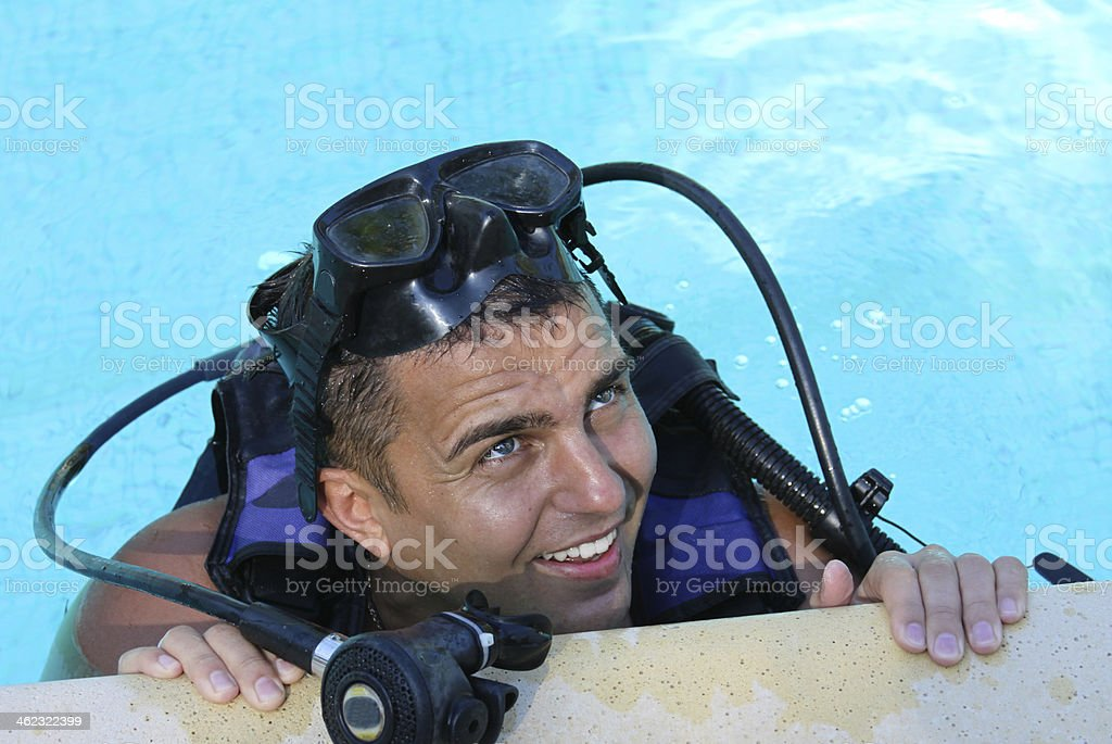 diver with mask and regulator royalty-free stock photo