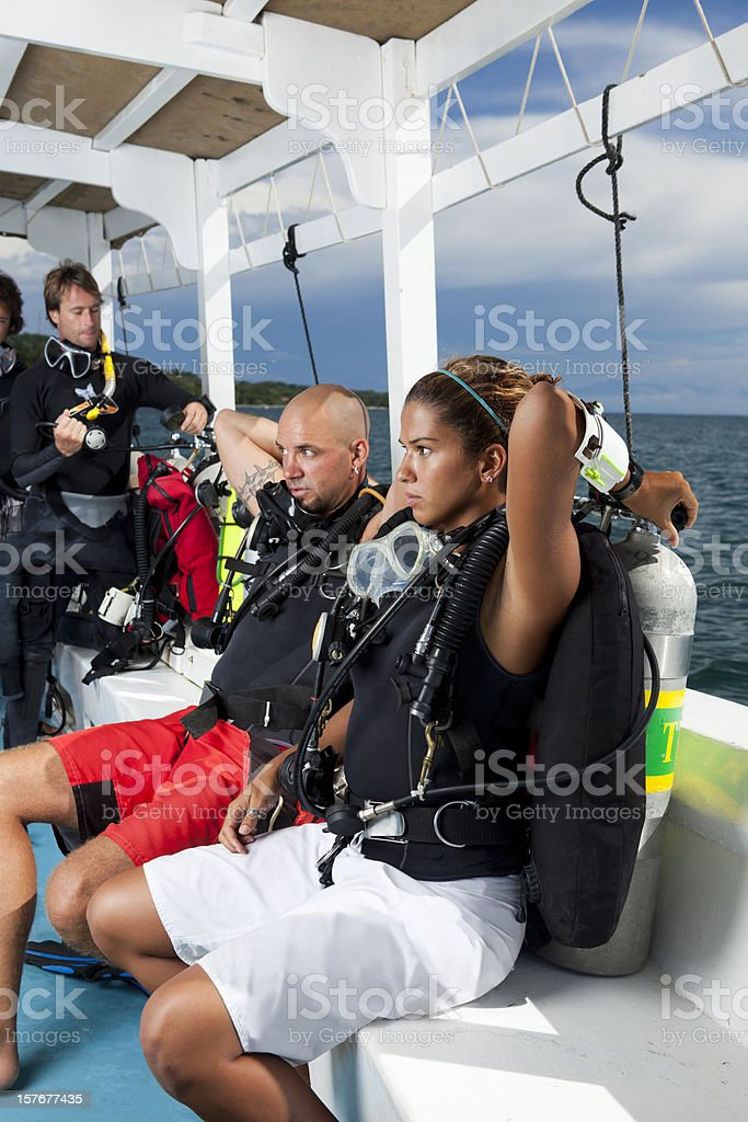Divers preparing for scuba dive royalty-free stock photo