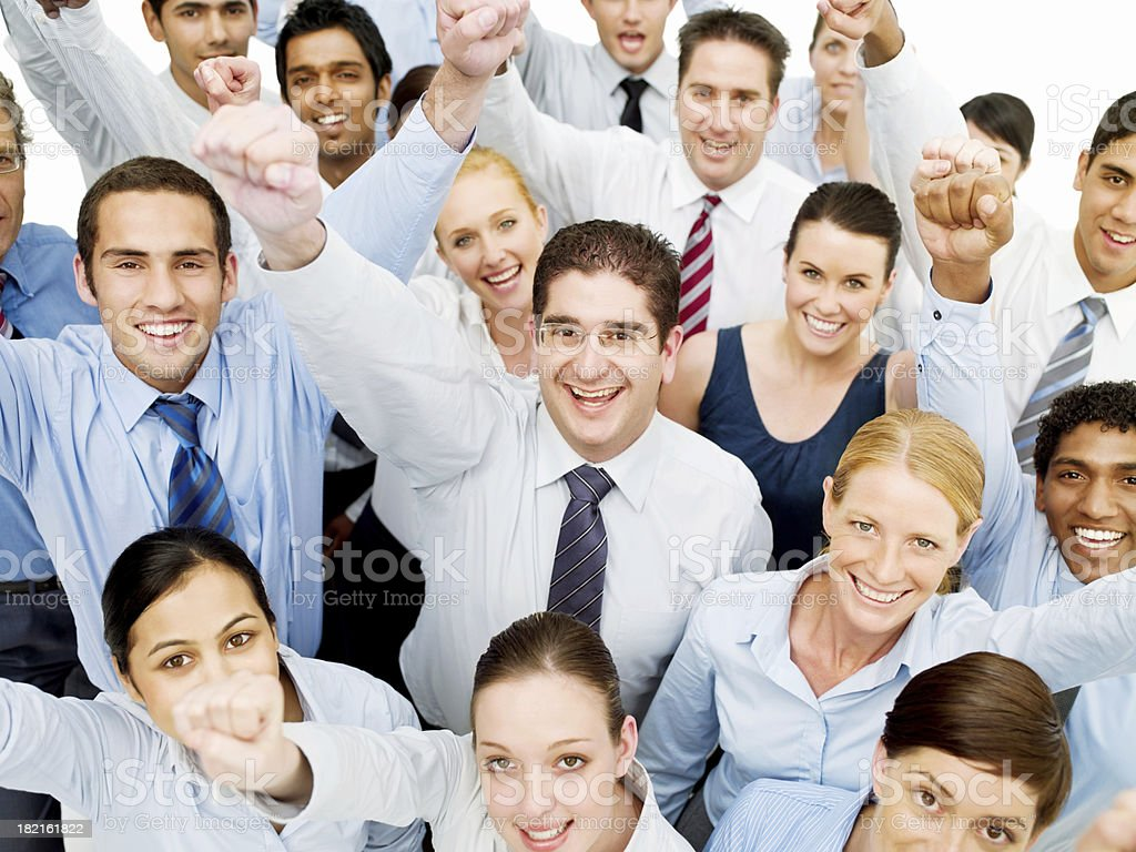 Diverse Business Group Cheering royalty-free stock photo
