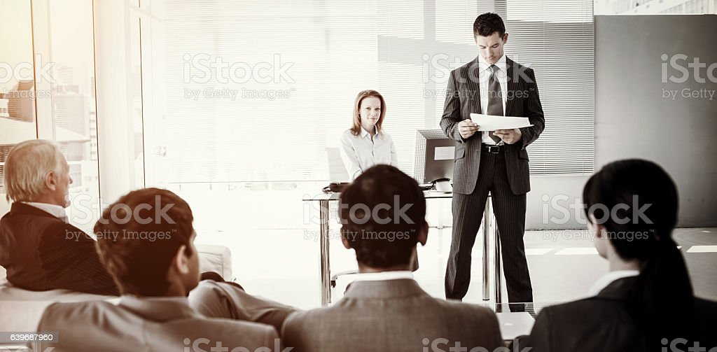 A diverse business people at a conference stock photo