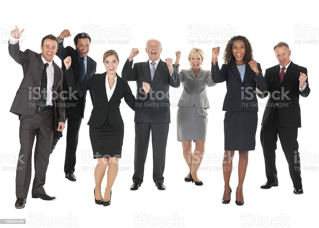 Diverse Business People Cheering - Isolated royalty-free stock photo