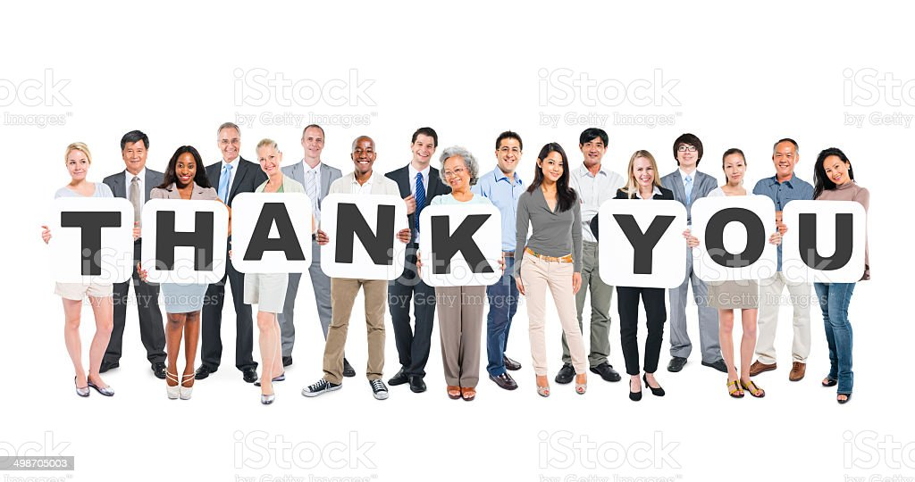 Diverse Business People Holding Word Thank You stock photo