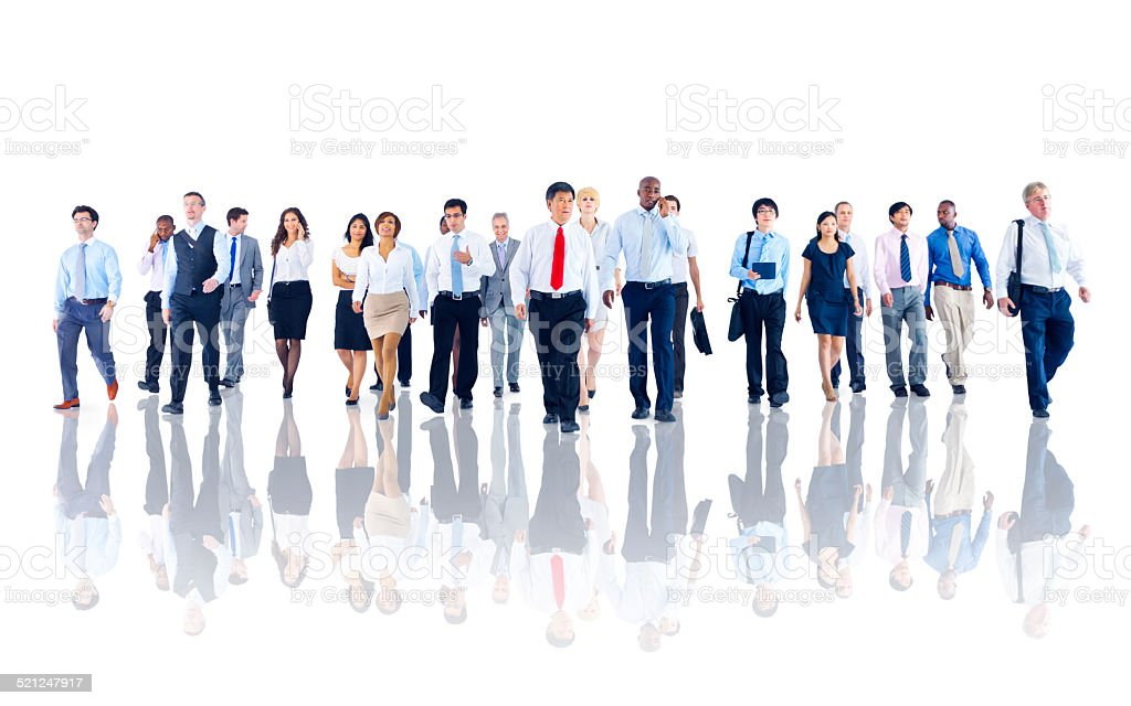 Diverse Business People Working and Walking stock photo