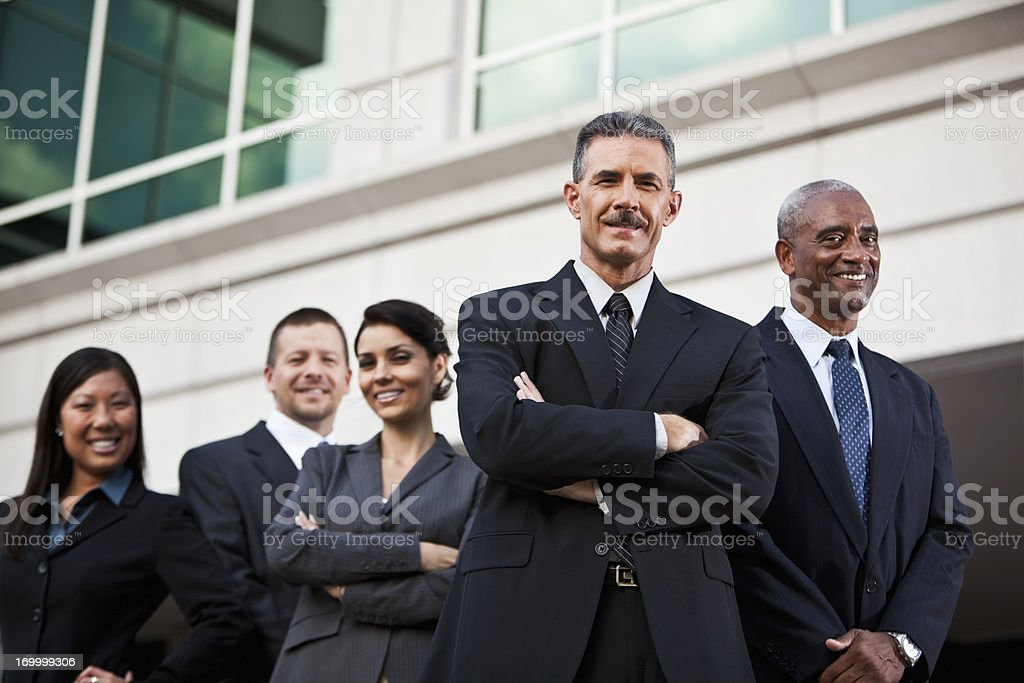 Diverse business team outside of office royalty-free stock photo