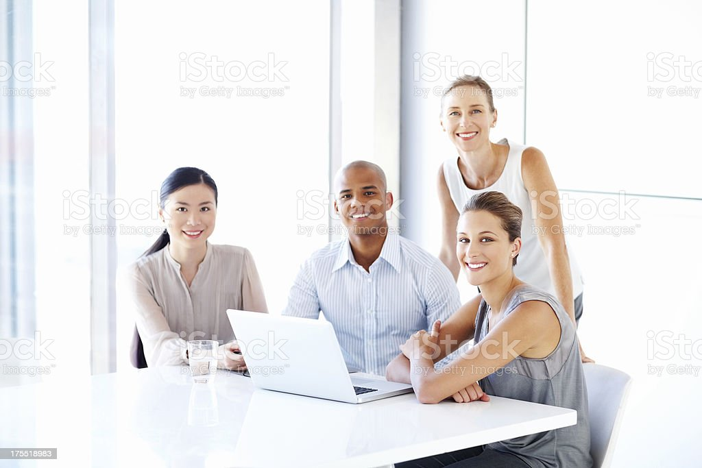 Diverse Business Team Using Laptop royalty-free stock photo