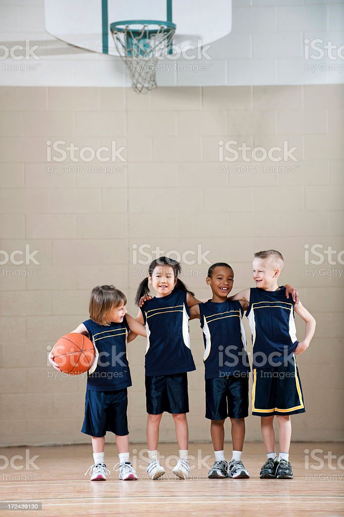 Diverse Childrens Basketball Team royalty-free stock photo