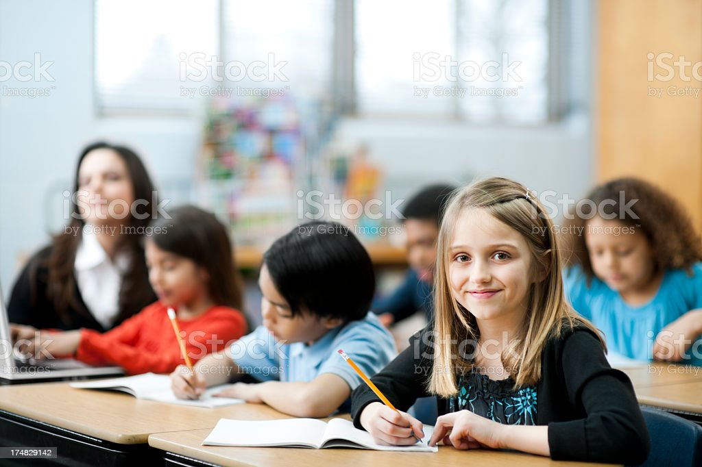 diverse class of elemenarty students royalty-free stock photo