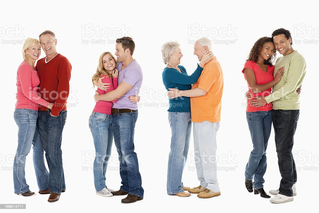 Diverse Couples in a Row - Isolated royalty-free stock photo