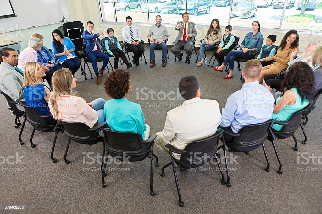 Diverse discussion group stock photo