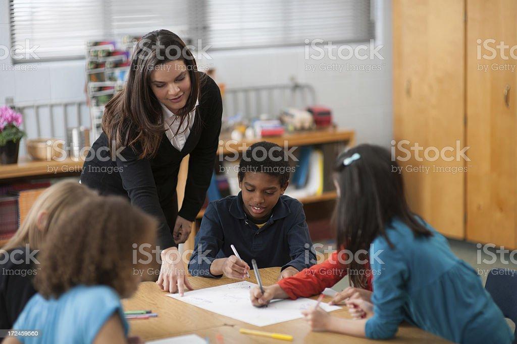Diverse Elementary Classroom royalty-free stock photo