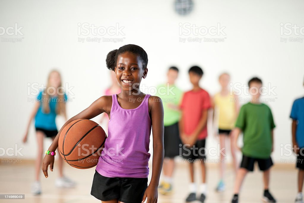 Diverse elementary gym class royalty-free stock photo