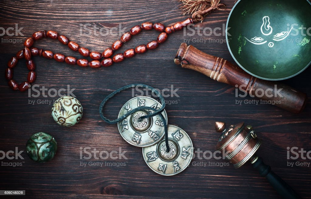 diverse ethnic objects for meditation and relaxation stock photo