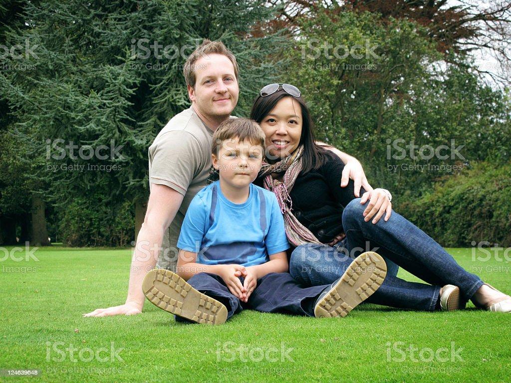 Diverse Family of Three stock photo