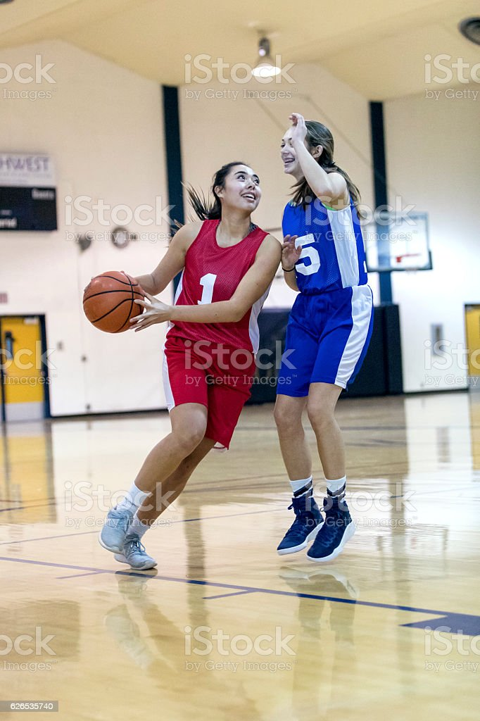 Diverse female basketball players enjoying a competitive game together stock photo