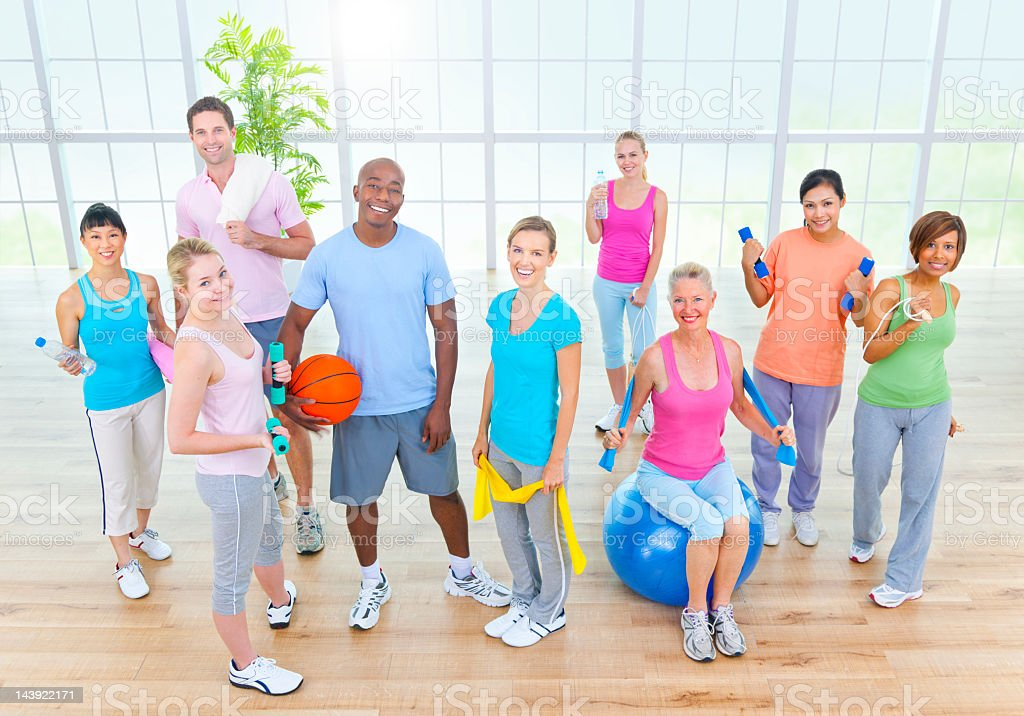 Diverse Fitness Class in Studio. royalty-free stock photo