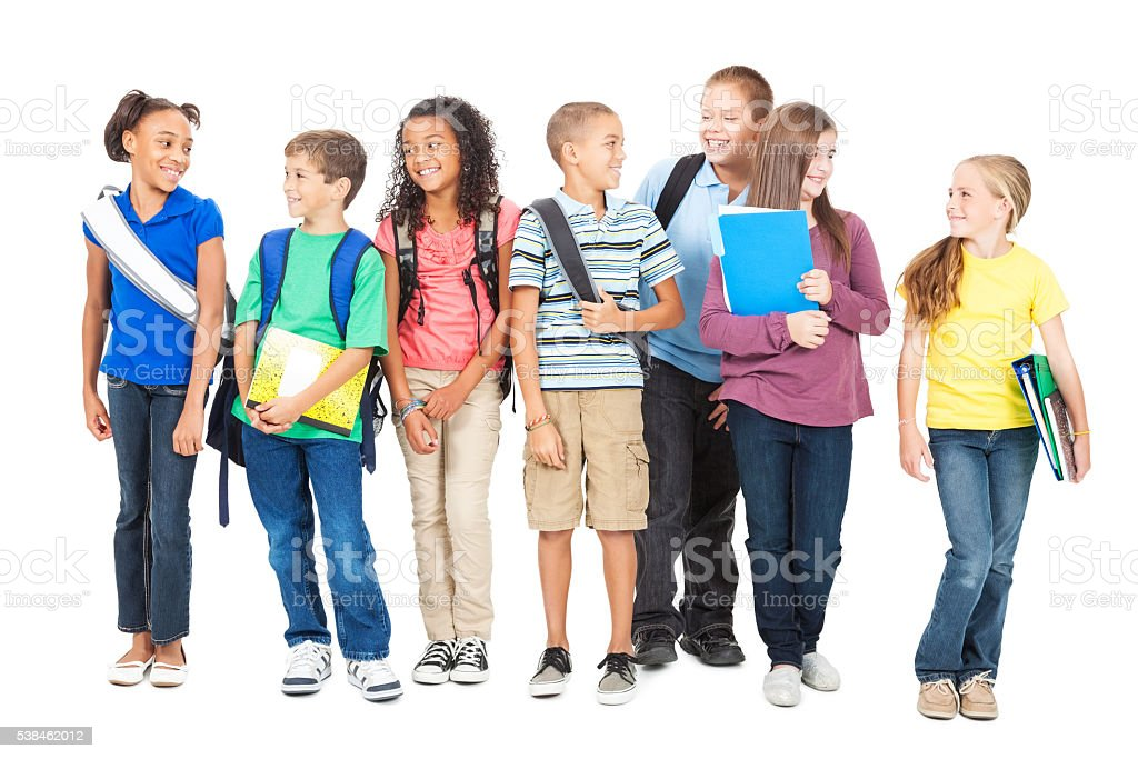 Diverse friends before school, isolated on white stock photo