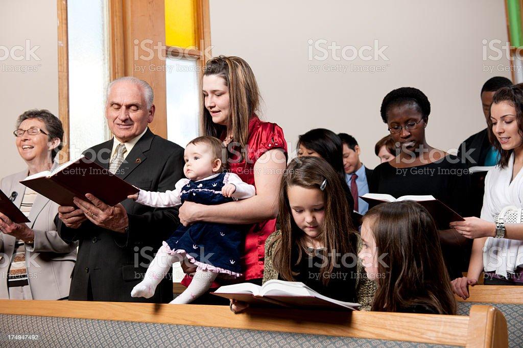 Diverse group at church stock photo