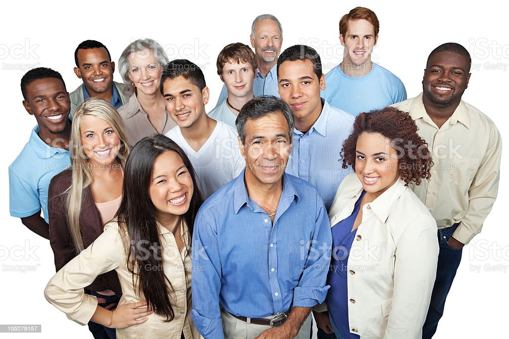 Diverse group of casually dressed business people looking up royalty-free stock photo