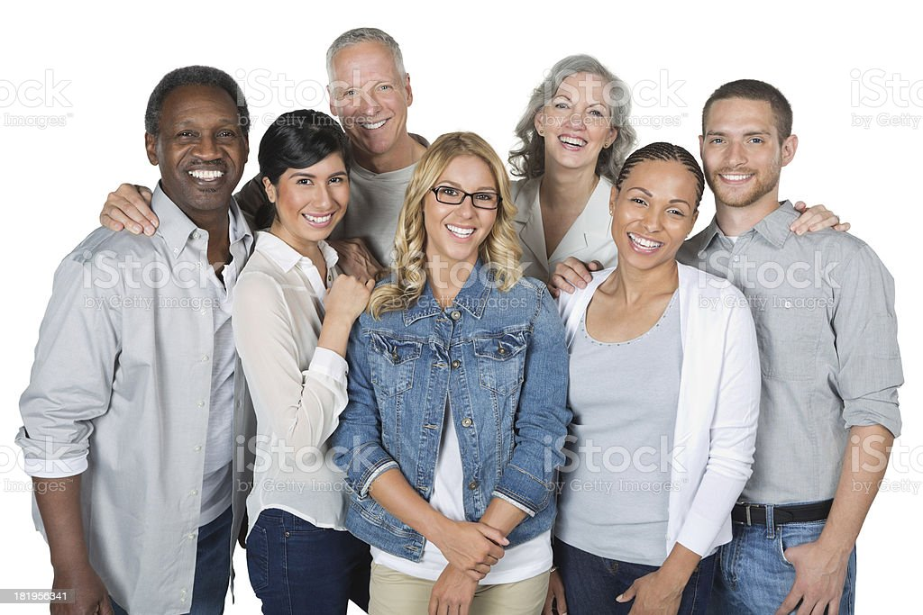 Diverse group of casually dressed people, isolated on white background royalty-free stock photo