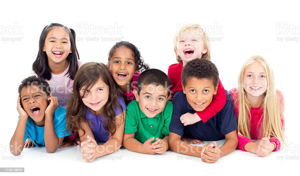Diverse Group of Children in Studio royalty-free stock photo