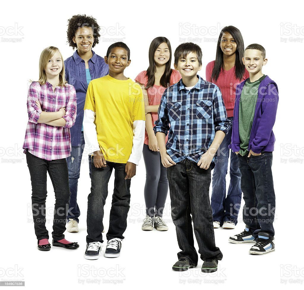 Diverse Group of Children Standing Together - Isolated stock photo