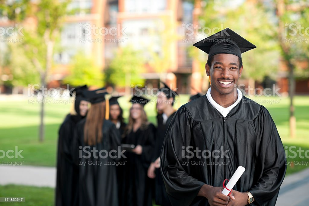 Diverse group of college graduates royalty-free stock photo