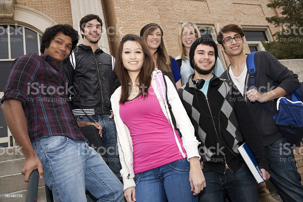 Diverse Group of College Students on Campus royalty-free stock photo