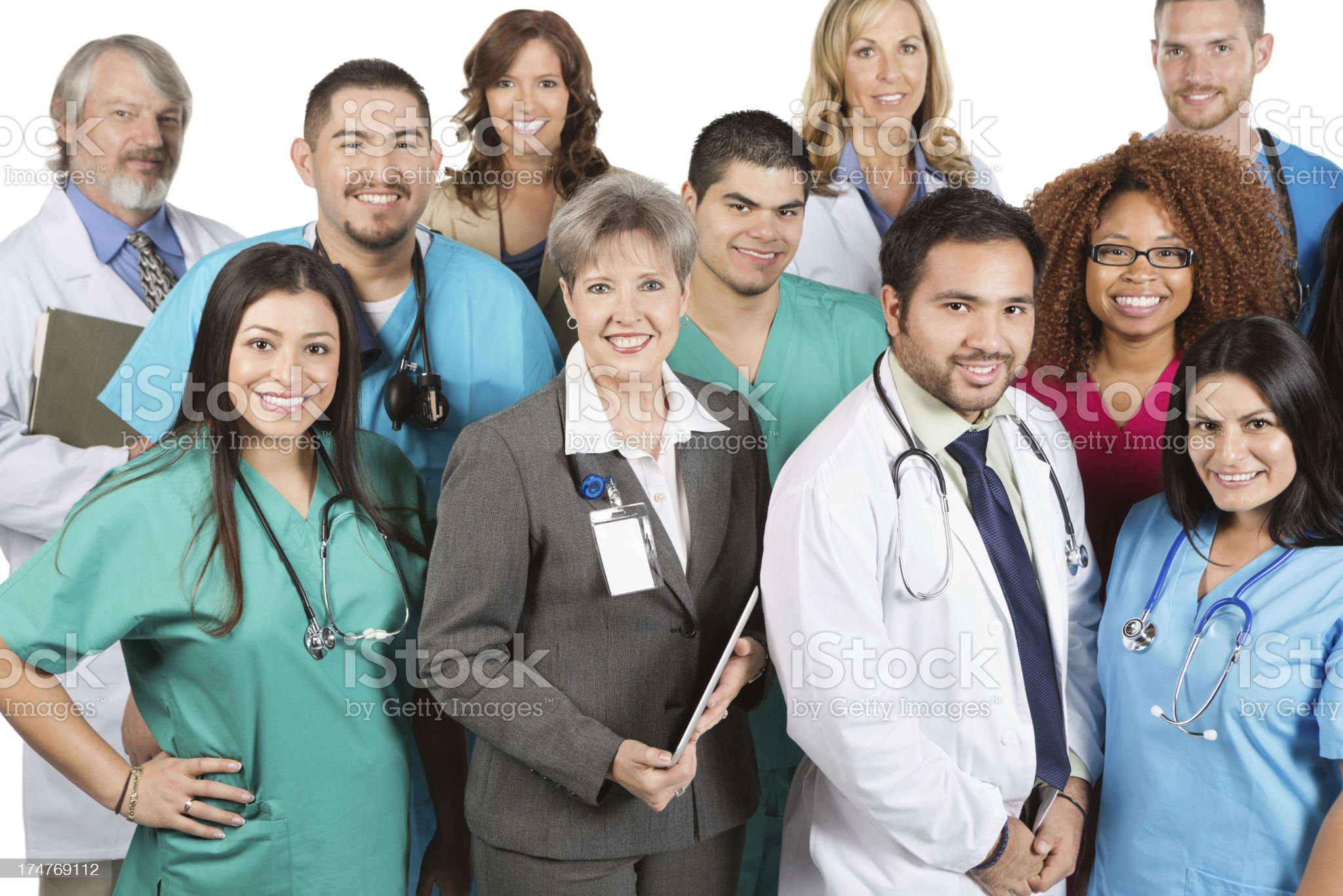 Diverse group of doctors and hospital staff on white background royalty-free stock photo