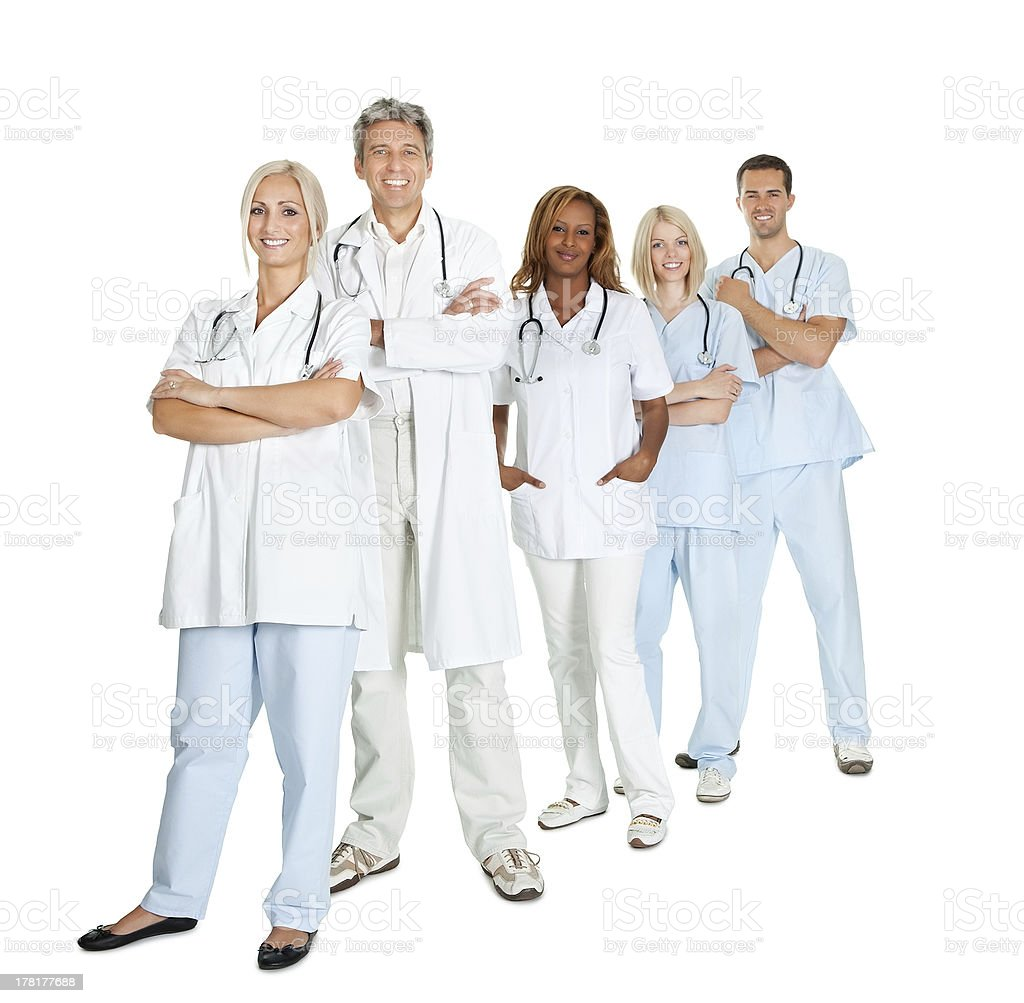 Diverse group of doctors isolated on white stock photo
