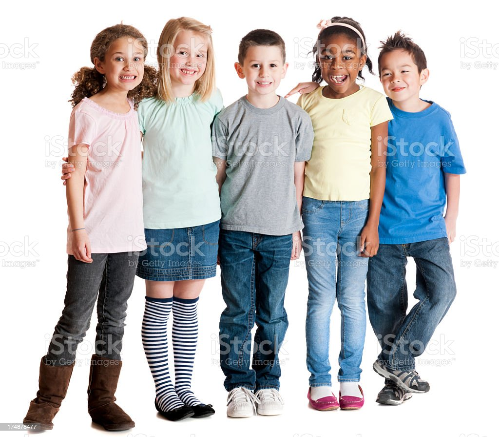 Diverse group of elementary children. stock photo